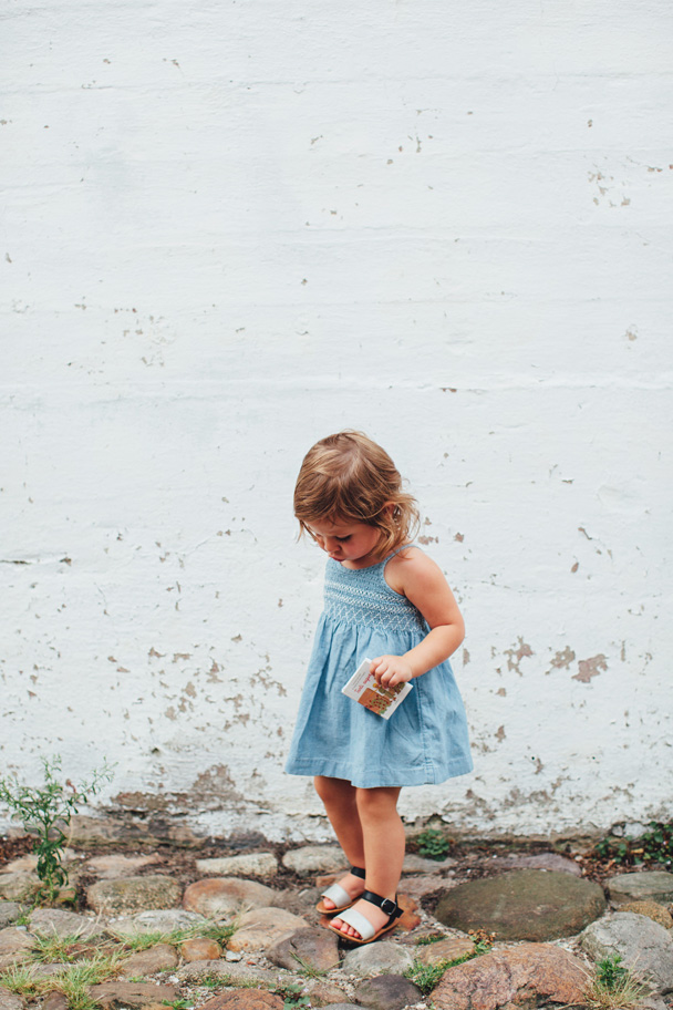 La Petite Peach_Jean Dress_white walls 1