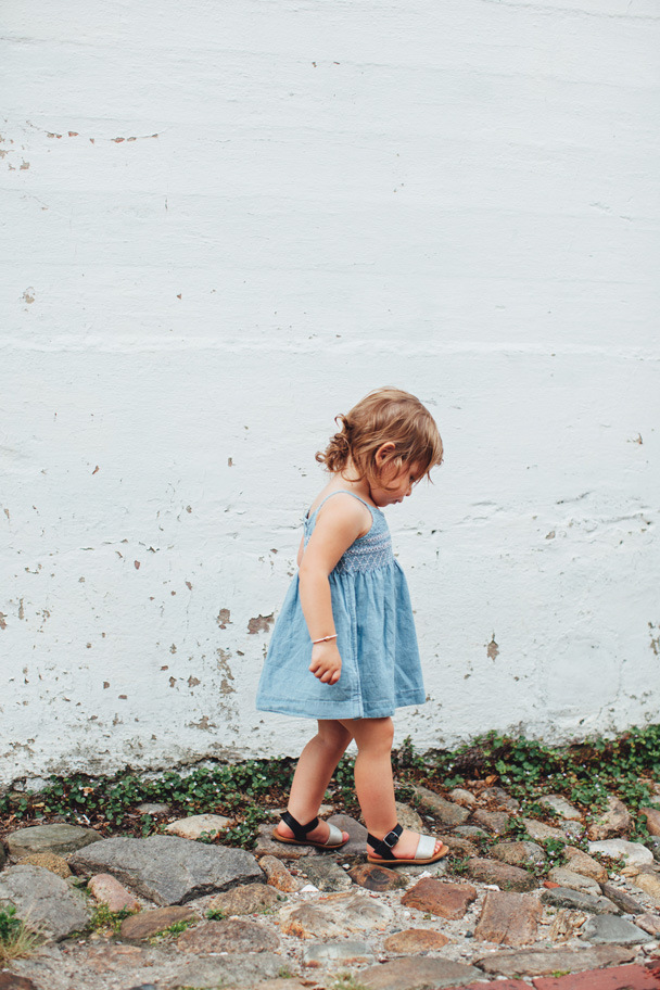 La Petite Peach_Jean Dress_white walls 3