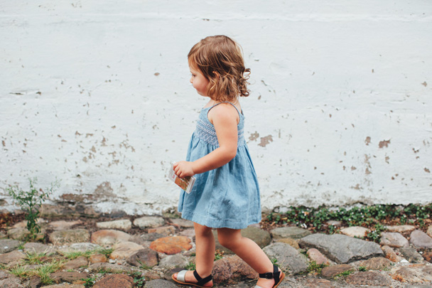 La Petite Peach_Jean Dress_white walls 4