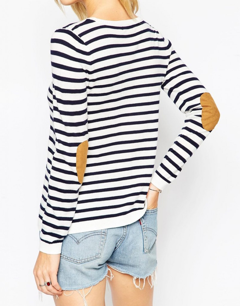 ASOS PETITE Jumper In Stripe With Oval Tan Suede Elbow Patch