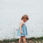 La Petite Peach_Jean Dress_white walls 3